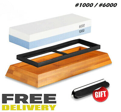KING TWO SIDED Sharpening Stone with Base - #1000 & #6000 (2 ...