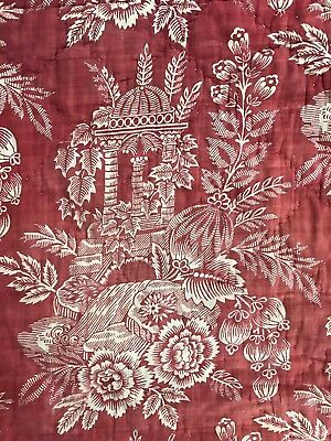 Antique French 18th century block printed pelmet linen with EARLY textile under