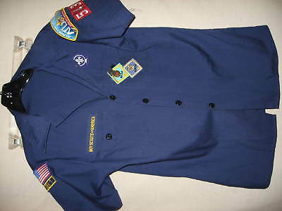 Boy Scouts Of America Shirt Youth Size L Blue With Badges Preowned