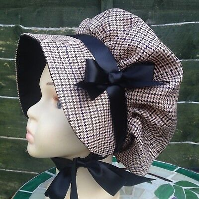 Girls VICTORIAN Check BONNET Edwardian Country Costume Oliver School Miserables