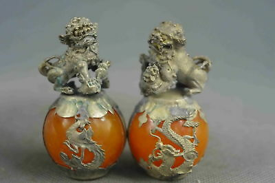 Collectible Handwork Old Agate Armor Miao Silver Carve Dragon Lion Noble Statue