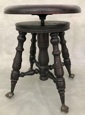 Antique 19thC A. Merriam Piano Wood Swivel Stool Seat Bench Ball Claw Glass Feet