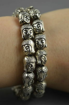 Collectable Handwork Decorative Old Miao SIlver Carve Buddha Head Lucky Bracelet