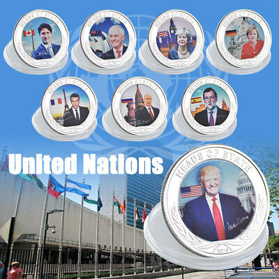 WR 8pcs National Leader Set Silver Plated Metal Coin United Nations Design Lots