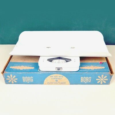 Vintage Complete Borg White Gentle Touch Infant Baby Scale with Original Box
