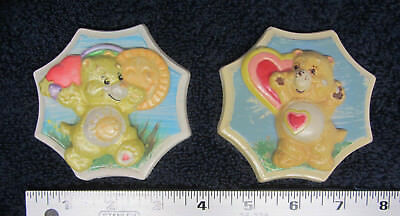 2 Vintage Care Bears Plaster Plaques Sunshine Heart Bear Wall Hand Painted 3D