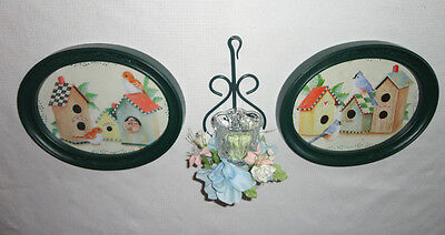 Home Interiors Set of 2 Oval '' Birdhouse '' Pictures  &  Sconce  6pc Gorgeous