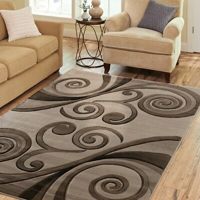 Exclusive Hand Carved Rugs 5x8 Modern Abstract Brown Black Tan Area