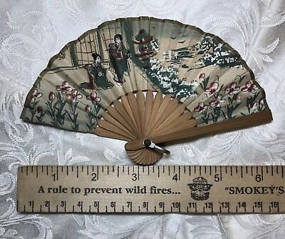 Vintage TINY Doll Paper & Bamboo Hand Fan Geisha Girls Scene FOR DOLL?