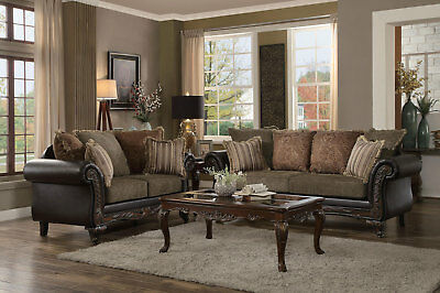 CODY TRADITIONAL LIVING Room Couch Set NEW Brown Wood Trim Fabric Sofa  Loveseat