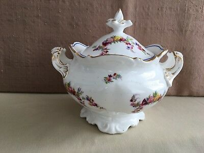 Old Paris Porcelain Style Large Covered Sugar Bowl Hand Painted Floral Garlands