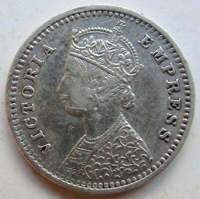 India, British 1888 Silver Two Annas Bombay Mint Victoria