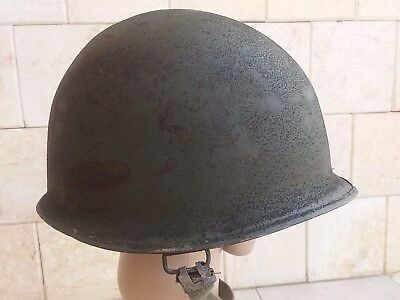 Us M1 Helmet Shell Sand Painted With Chin Strap.