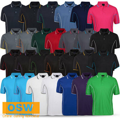 Mens Casual Cool Dry Work Office Tradies Piping Style Polo Shirt - 27 Colours