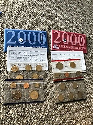 2000 D and P United States Uncirculated Mint Coin Set in Envelopes