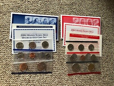 2002 D and P United States Uncirculated Mint Coin Set in Envelopes