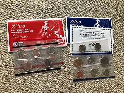 2005 D and P United States Uncirculated Mint Coin Set in Envelopes