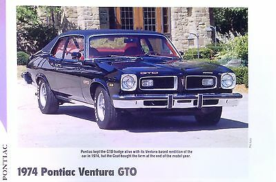 1974 Pontiac Ventura GTO 350 ci info/specs/photo/price/production numbers 11x8