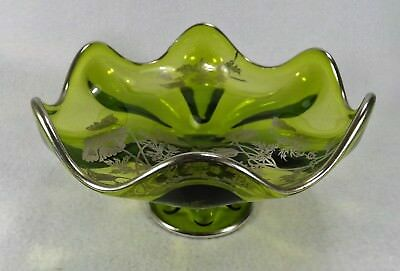 Lovely Vtg. Green Compote w/ Silver Overlay Flanders Poppy Candy Bowl Console