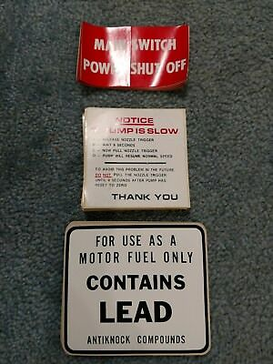 Huge Lot Of Vintage Gas Pump Decals Sign Old Gas Station Pump Contains Lead NOS!