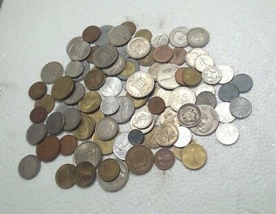 LOT OF WORLD COINS. 18 COUNTRIES~91 COINS~FROM THE 1910'S TO THE 1990's ~ 1 lb.+