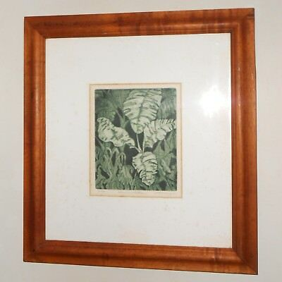 Vintage Hawaii etching Shirley Hasenyager Limited Edition in Solid Koa Frame