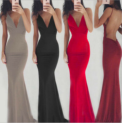 Womens Backless V Neck Formal Party Evening Ball Gown Prom Bridesmaid Maxi Dress
