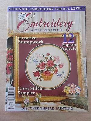 Embroidery & Cross Stitch Vol 9 #6~Stumpwork~Sampler~Thread Painting~Rose~Pansy
