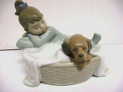 "Lladro Nao figurine 1416 ""A BASKET FOR TWO"" 4.7"" X 6"" Girl & Puppy"
