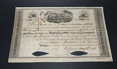 1841 Baltimore & Ohio railroad company stock certificate GREAT PIECE