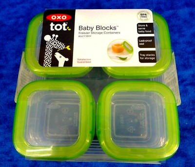Oxo Tot (4) Baby Blocks Freezer Storage Containers 4 Oz Green New Factory Sealed