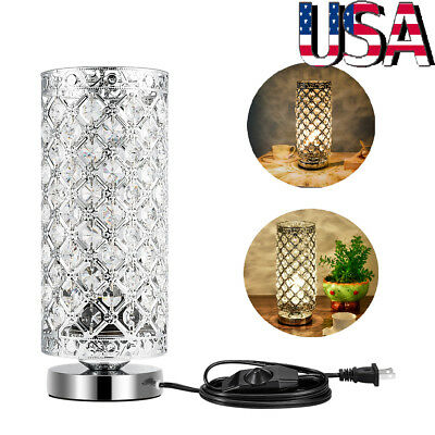 Modern Crystal Table Lamp Desk Bedside Night Light Bedroom Nightstand Home Decor