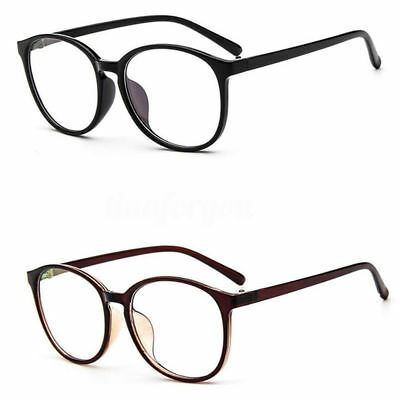 Fashion Unisex Men Women Clear Plain Lens Large Oval Plastic Frame Glasses Specs