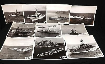 Lot Of 10 Ww2 Original Large Photos Of Ww2 Era Ships Carriers,destroyer,submarin