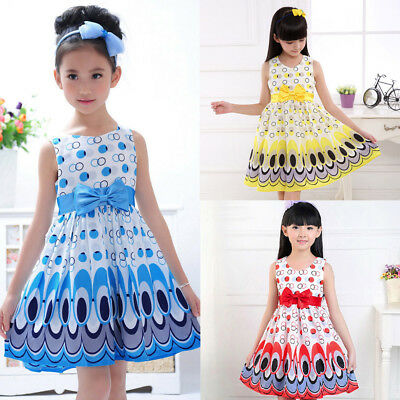 Summer Kids Girls Bow Belt Sleeveless Bubble Peacock A-Line Dress Party Clothing