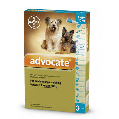Advocate Dogs 4-10 kg 1.0 ml 3 tubes Spot Treatment Of Mites In Ear EXP 06/2018