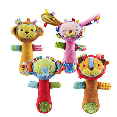 Infant Animal Hand Bell Baby Rattles Hand Plush Stuffed Toy Educational Handbell