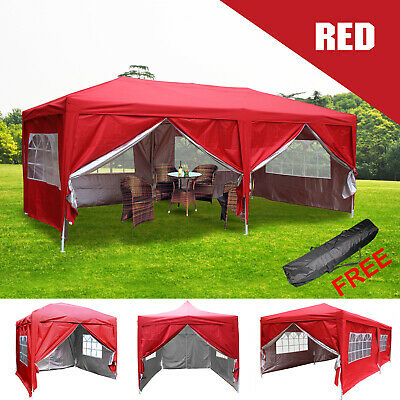 Red Garden Pop Up Gazebo Marquee Outdoor Party Tent Canopy with Carry Bag