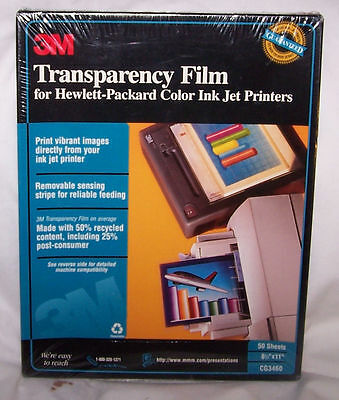 3M Transpar Film- HP Ink Jet, CG3460, New, Factory Seal, 50 sh, Save $$ shipping