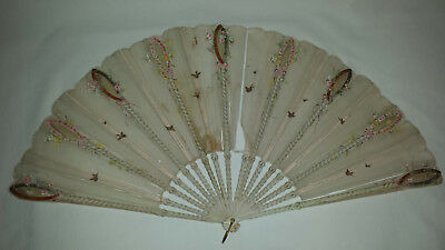 Handheld Fan painted wooden sticks, fine silk gauze painted with birds C1920s
