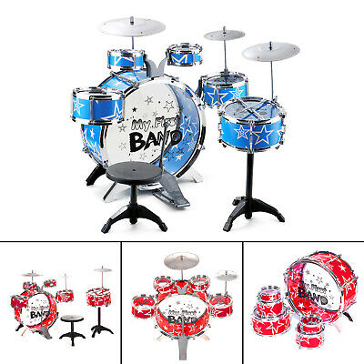 Rock Drum Kit Childrens Cymbal Music Percussion Playset Stool Toy Xmas Gift