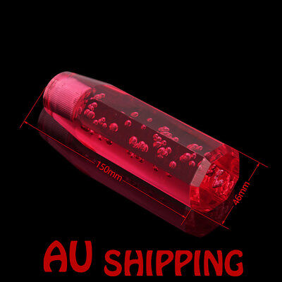 "150mm Crystal Air Bubble Manual Shift Knob Octagon Acrylic shifter gear 5.9"" Red"