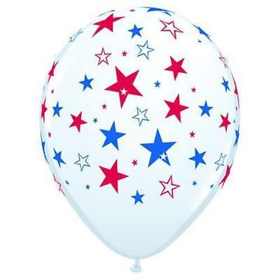 "16"" Red & Blue Stars - White Latex Balloons, Pack of 50"
