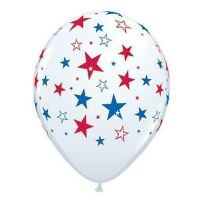"11"" Red & Blue Stars - White Latex Balloons, Pack of 50"