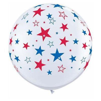 "36"" Red & Blue Stars - White Latex Balloons 2 Count"