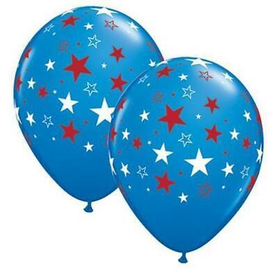 "11"" Red & White Stars - Dark Blue Latex Balloons 50 Count"