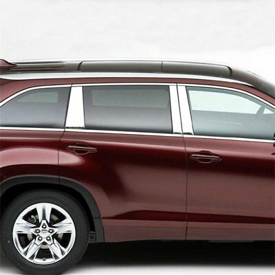 For Toyota Highlander 2014-2018 Stainless Steel Window Pillar Post Cover Trim*6