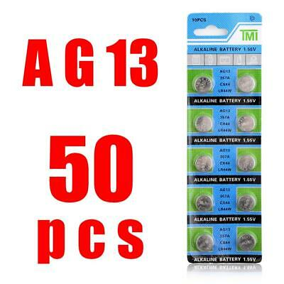 50 Pcs Watch Battery 357A AG13 LR44 SR44 Alkaline  357 Coin Cell A76 303 Button