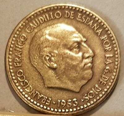 Spain  Double date & letters Pesetas 1953 (50) very nice to see.
