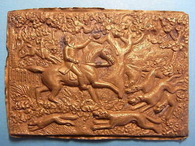 Large British 18th Century Thames Found Plaque Of A Hunting Talbot Scene (A1075)